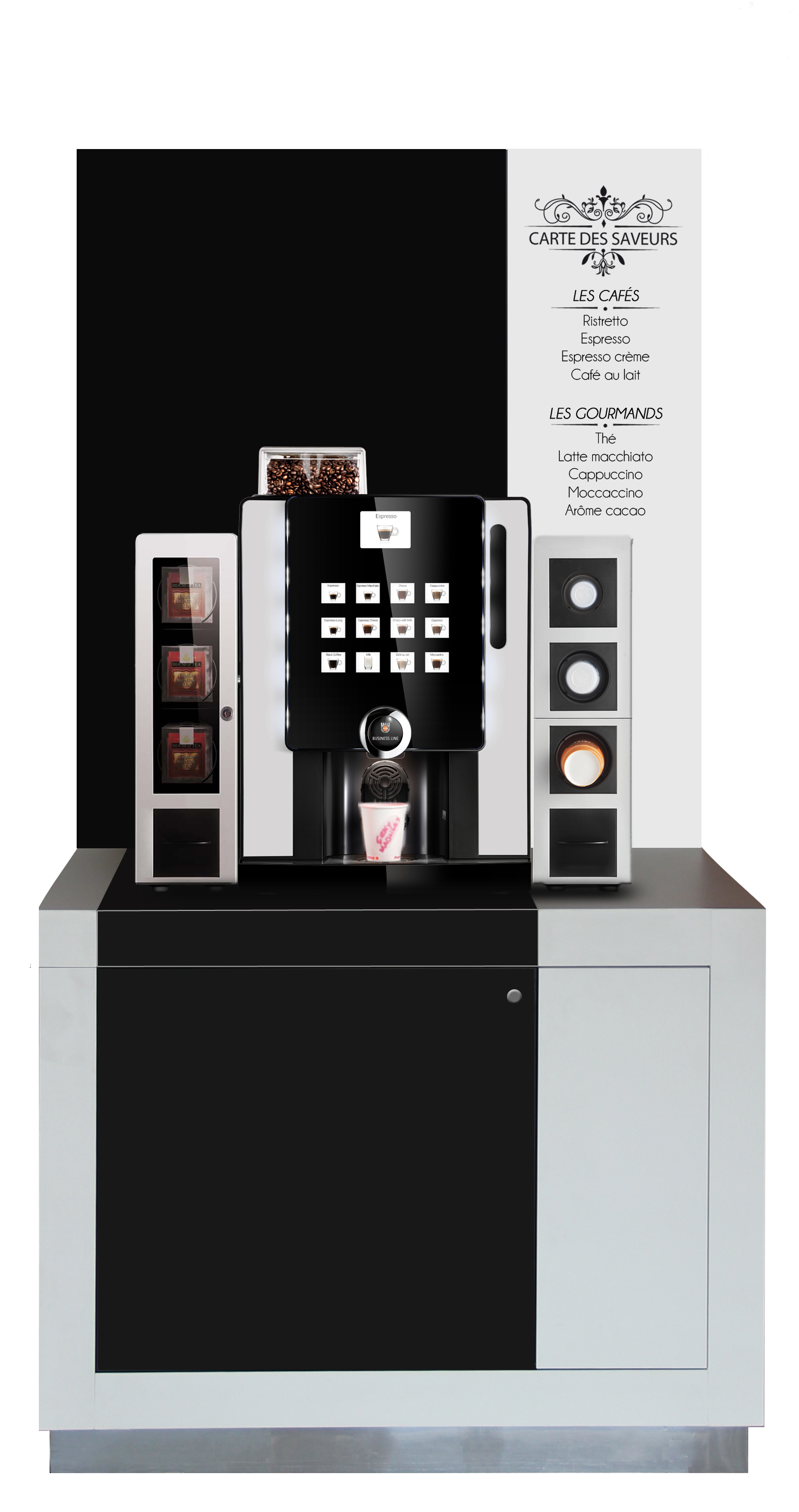 Mise en situation Grande Expresso sur meuble Coffee Corner